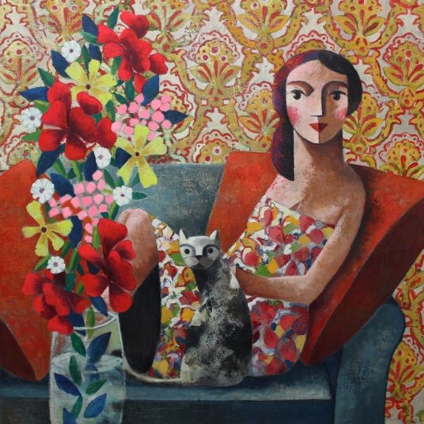Flores, gato y yo
